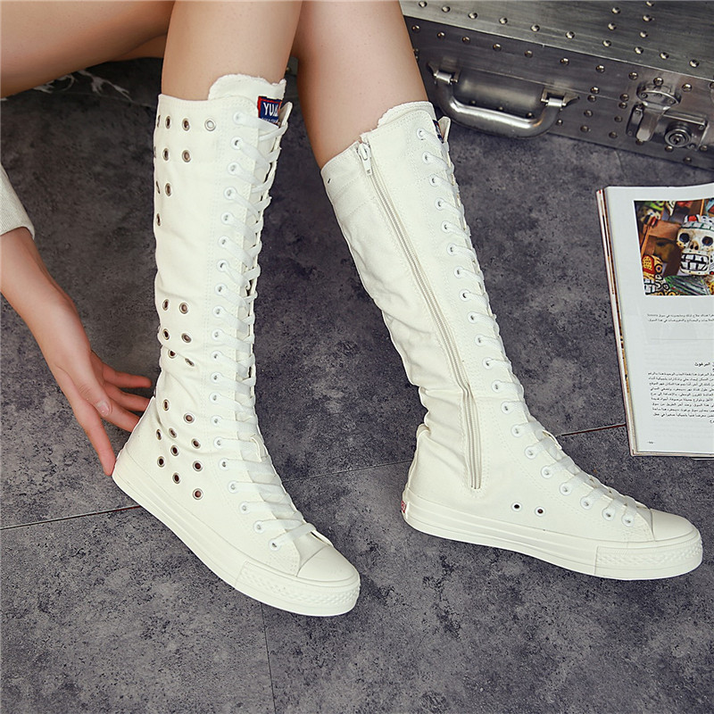 Fashion 2018 New Summer Women Shoes Casual Breathable Canvas High Top Shoes Zipper Round Toe Boots Flat Comfortable fashion summer gladiator women flat fashion shoes casual occasions comfortable sandals round toe casual peep toe flat shoes s