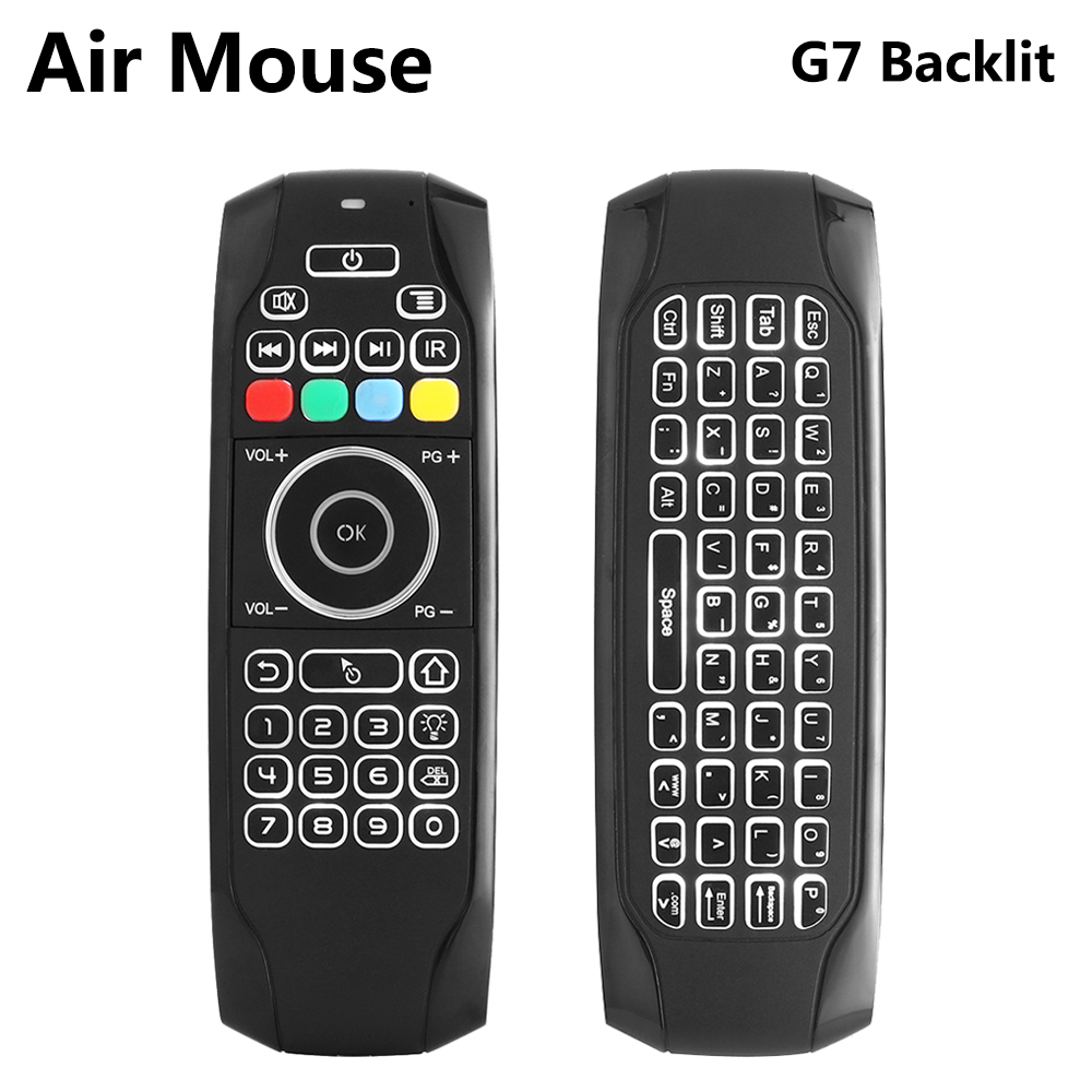цена на G7 2.4G Backlit Wireless Air Mouse with Keyboard 6-Axis Gyro Smart Remote Control For X96 tx3 mini A95X H96 pro Android TV Box