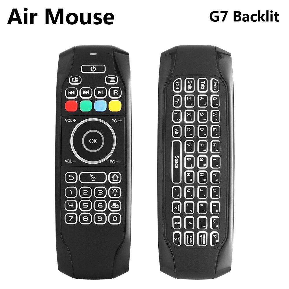 G7 2,4g retroiluminada Air Mouse inalámbrico con teclado 6-Axis Gyro Control remoto inteligente para X96 tx3 mini A95X H96 pro Android TV Box