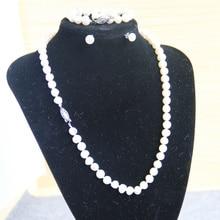 Cadena de moda Collar de Joyas 7-8mm Blanco Natural de Agua Dulce Perla aretes Set Joyería de los granos making diseño 18 pulgadas venta al por mayor