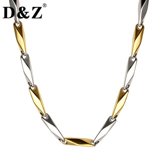 D&Z Handmade Two Tone Gold Color Titanium Stainless Steel 55CM Link Chain Neckla