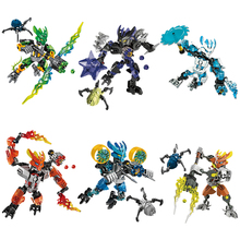 BIONICLE series 6 pcs/set jungle Rock Water Earth Ice Fire action figure 706 Building Block toys Compatible With Legoes LR-689