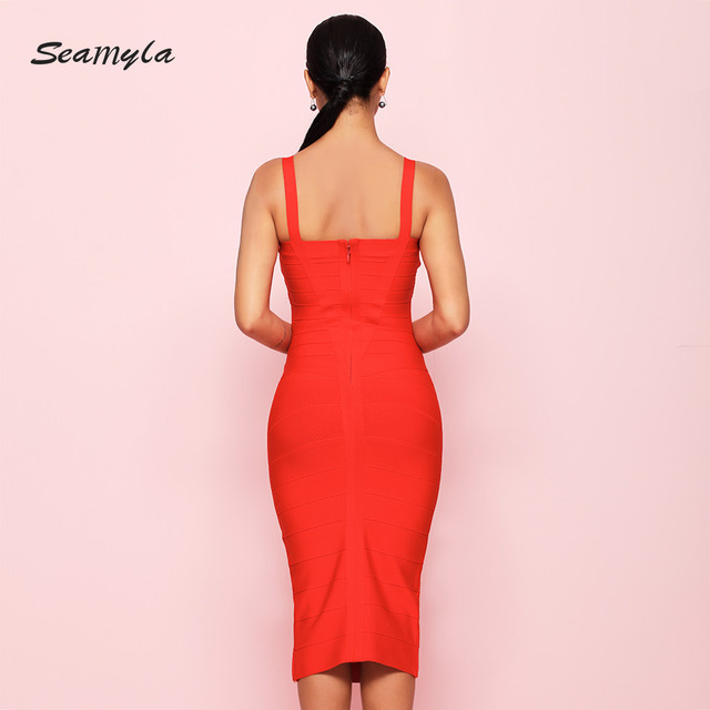 New Fashion Bodycon Bandage Dress Women Spaghetti Straps Criss Cross Vestidos Sexy Mid Calf Evening Party Dresses