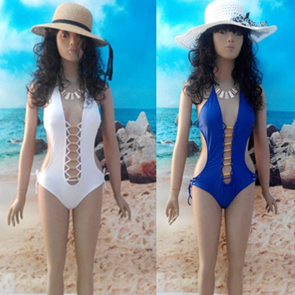 Sexy Hollowed-out V Neck One-piece Swimsuit Women Sexy Beach Swimwer One Piece Monokini for Lady