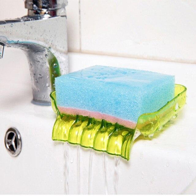 Soap Storage Box Dish Case Makeup Organizer Water Drain Sponge Holder For Kitchen Double Sucker Bathroom Kitchen Organizer