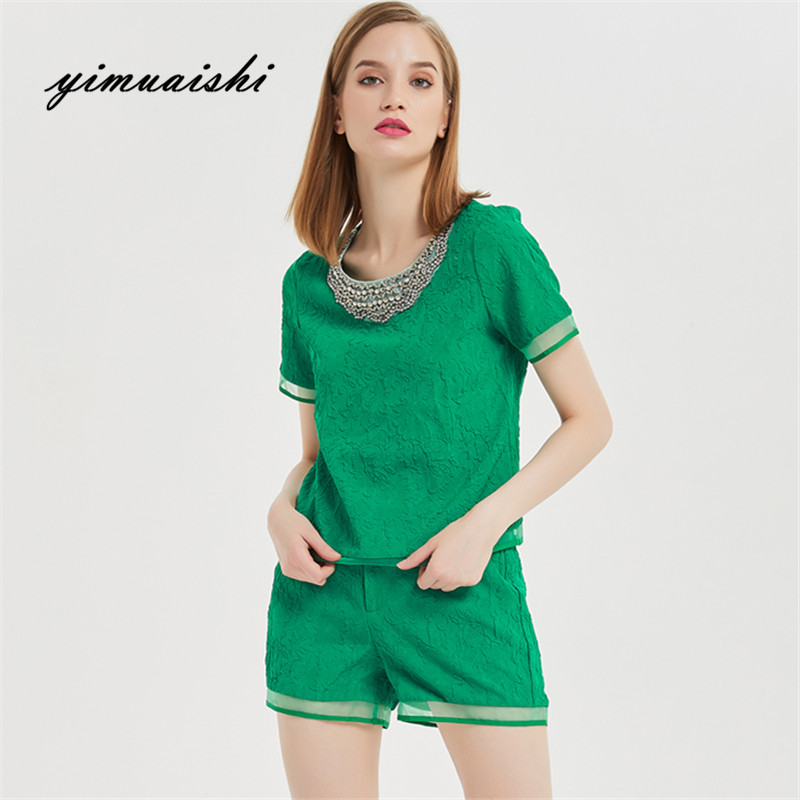 2018 elegant Female Casual Green Sets Summer Two Piece Sets Ladies Fashion beading Sets with Shirts and shorts Top for women