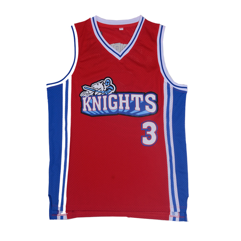 Iverson Men's Basketball Jersey Like Mike Movie Knights #3 Calvin Cambridge Knights  Red Basketball Jersey Stitched Shirts 4XL iverson basketball shoes male adolescents spring low help iverson war boots light wear antiskid sports shoes