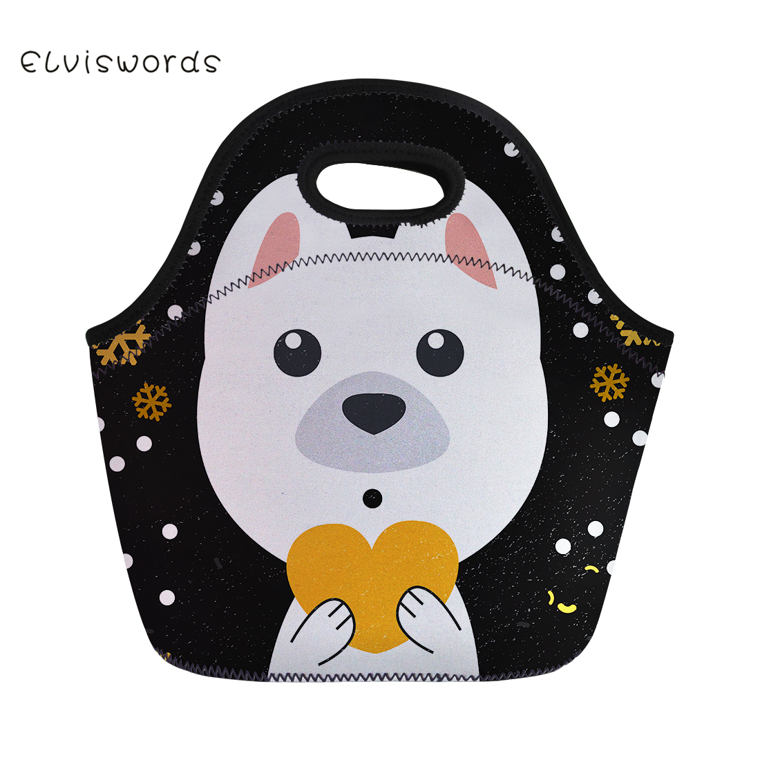 ELVISWORDS Cute Animals Printing Lunch Bag Lovely Neoprene Waterproofhand Box for Women Tote Girls Pinic Snacks Container
