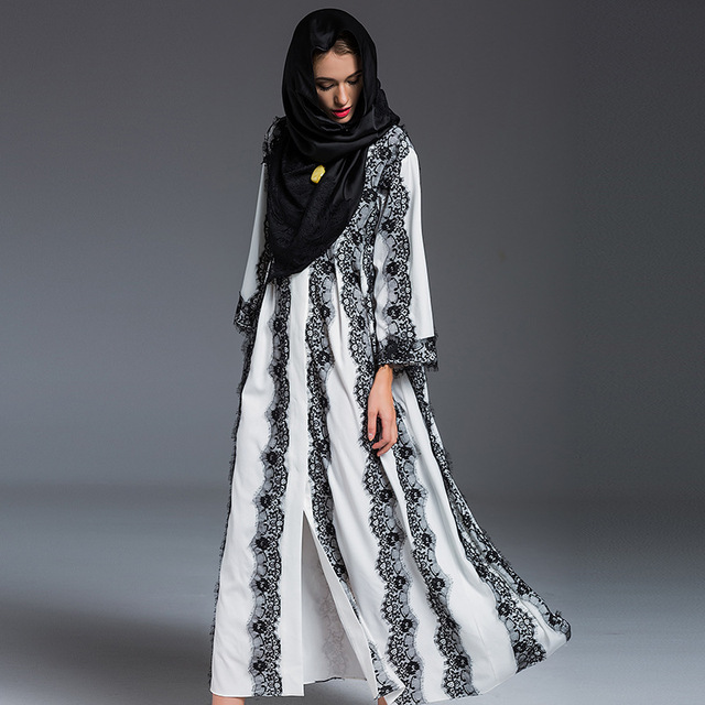 2016 Moda Abaya Muçulmano Dubai Vestuário Islâmico Para As Mulheres abaya Muçulmano Abaya Jilbab Djellaba Musulmane Alta Qualidade Vestido De renda