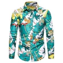 Mens Summer Beach Hawaiian Shirts 2019 Fashion Men Printed Floral Good Quality Casual S Long Sleeved Slim Fit Male