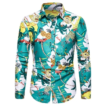 Mens Summer Beach Hawaiian Shirts 2019 Fashion Men Printed Floral Good Quality Casual S Long Sleeved Slim Fit Male