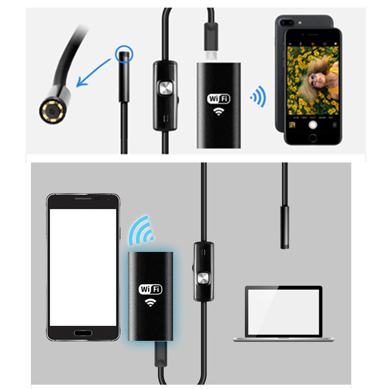 Image 2 - KERUI Wireless 1m 2m 5m WiFi 1200P HD 8mm Endoscope Camera Wifi Outdoor USB Endoscope Borescope Inspection Android iPhone Camera-in Surveillance Cameras from Security & Protection