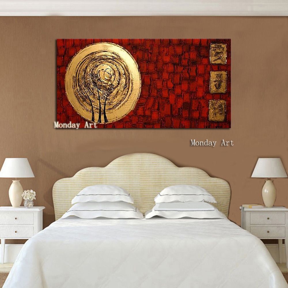 New Hand Painted Abstract Gold Art painting big canvas wall art Wall Picture Handmade Golden Canvas Oil Painting for Home Decor in Painting Calligraphy from Home Garden