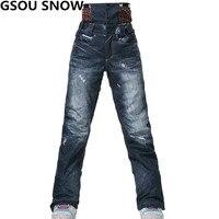 Gsou שלג סקי מכנסיים סקי מכנסיים סנובורד windproof עמיד למים חיצוני מקצועי צפצף נשים מכנסיים שלג סקי וסנובורד