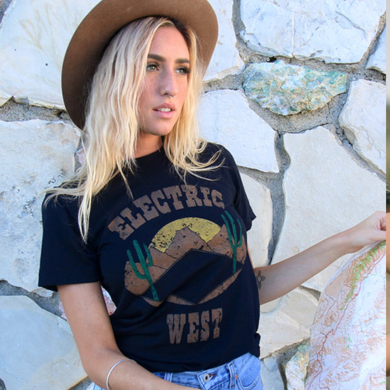 Dropwow New Electric West Tee Womens Southwestern T Shirt-desert ... 2044a518eaa7