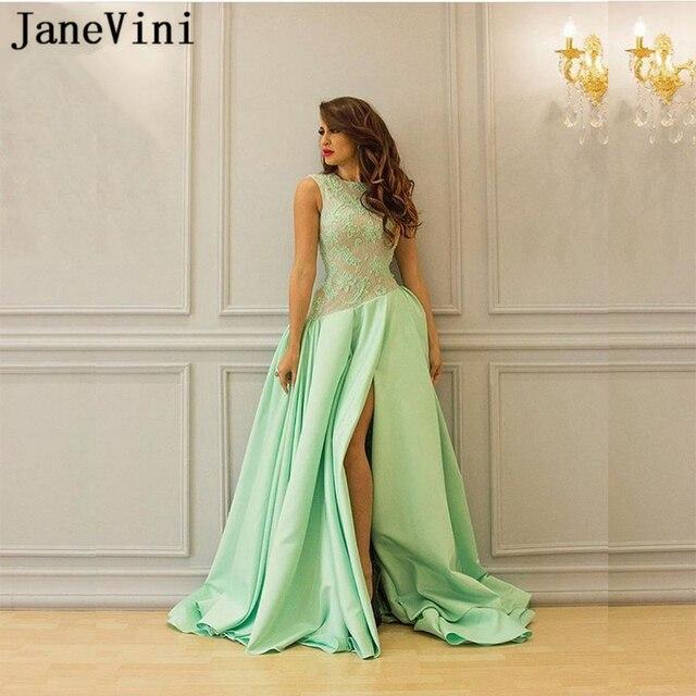 595af9f9a7b JaneVini Sexy Arabic A Line Evening Dresses Long O Neck Lace Appliques  Beaded Side Split Satin Plus Size Women Formal Dress 2019