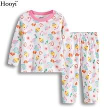 Купить с кэшбэком Hooyi Newest Baby Girl Home Clothes Sets Fashion Pink Cake Girls Pajamas Suit Butterfly Infant T-Shirt Trouser Sleepwear 0-2Year