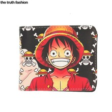 Naruto and One Piece purse wallets kids popular money card holder Zipper Poucht wallet Monkey Luffy chopper wallet(China)