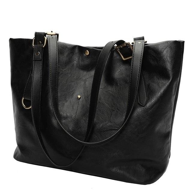 de23a5abce70 Brand Women Leather Handbags Lady Large Tote Bag Female Pu Shoulder Bags  Bolsas Femininas Sac A Main Brown Black Red 2018 New