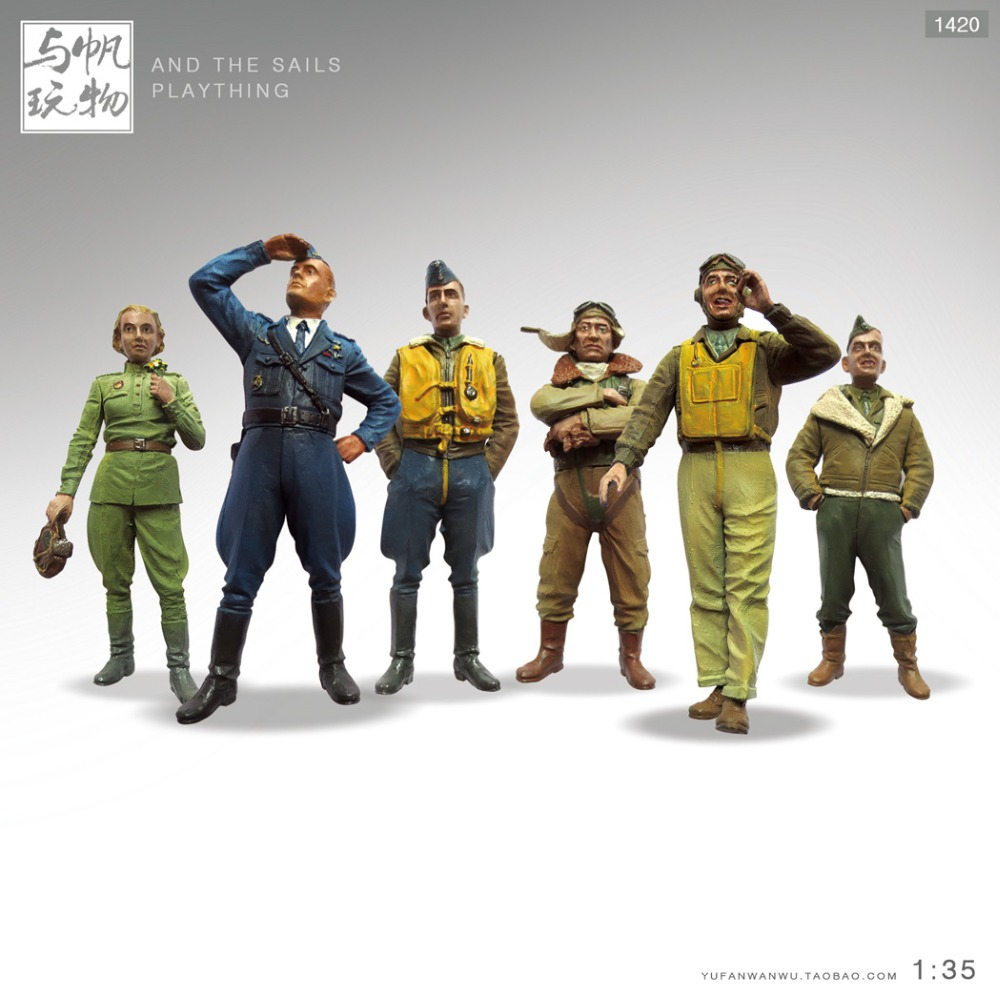 1:35high quality figure The simulation model toy decoration Soldier of World War II soldiers model pilot 6 pcs/set стиральный порошок пемос зимнее утро 350г