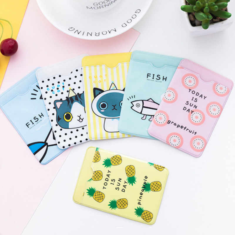 Small Fresh Cute ID Card Holder Case Cartoon Business Bus Bank Credit Card Cover Transparent PVC for Student Kid Women Badge Bag
