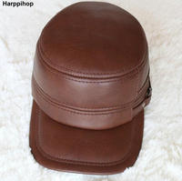 HARPPIHOP Genuine Leather Flat Peak Military Cap Hip Hop Hats Men S Caps Winter Warm01