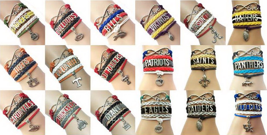 (10pcs/Lot) 18 Styles USA Football Teams Bracelets Wholesale-Leather Braided Friendship Wrap Gifts