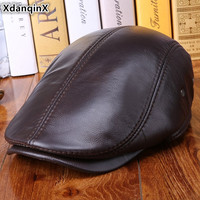 XdanqinX Winter Men's Warm Beret Genuine Leather Hat Cowhide Leather Thick Earmuffs Hats High Quality Brands Male Bone Dad Cap