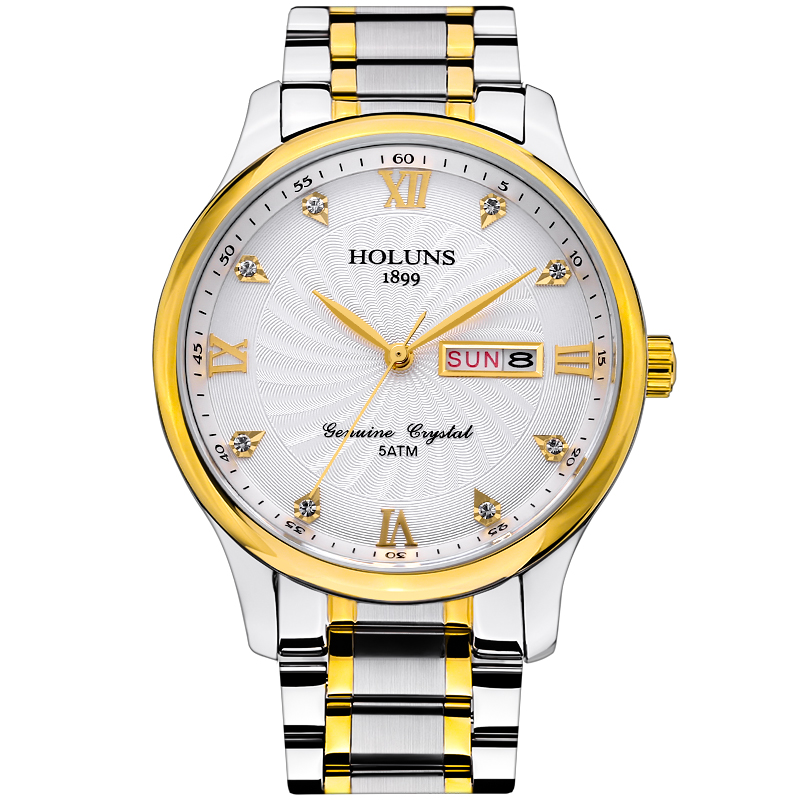 HOLUNS watch men luxury brand full steel quartz watch mens Sapphire glass Wristwatches with men date week  stainless steel watch