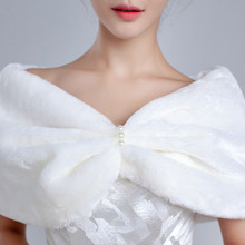 Real Photo In Stock Fur Bridal Wraps Bolero Evening Estola De Pele Winter Etole Mariage Cape  0525