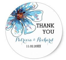 1.5inch Watercolors Floral Thank You Wedding Favor Classic Round Sticker