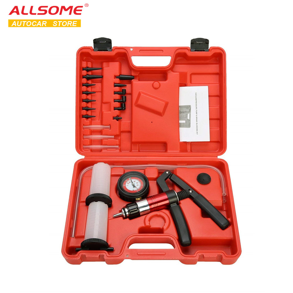 ALLSOME Auto Diagnostic-tool Car Auto Handheld Vacuum Pistol Pump Brake Bleeder Adaptor Fluid Reservoir Oil Tester Tools Kit