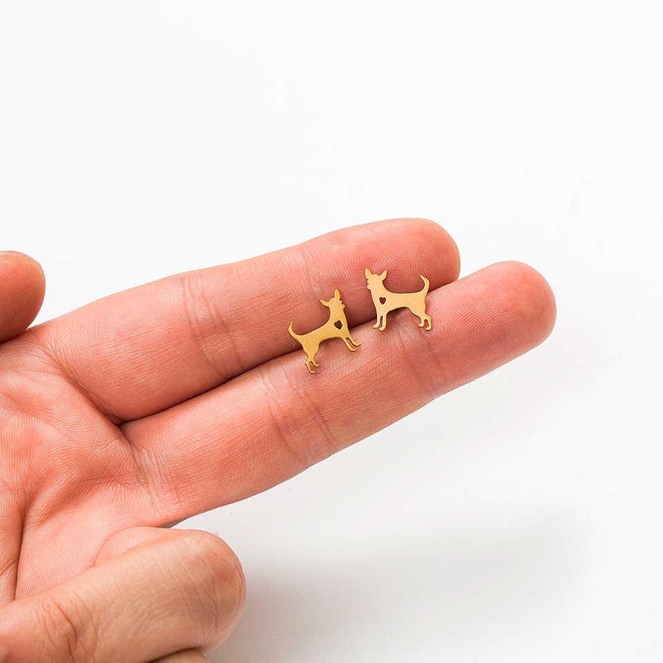 2019 новые милые мини-серьги-гвоздики в виде собачек Стильные Золотые Серебряные серьги-гвоздики с животными из нержавеющей стали для женщин минималистичные ювелирные изделия