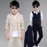 children's clothing sets kids baby boy formal 3 Pieces suit spring coat+vest+pants gentleman clothes for 5 12 years