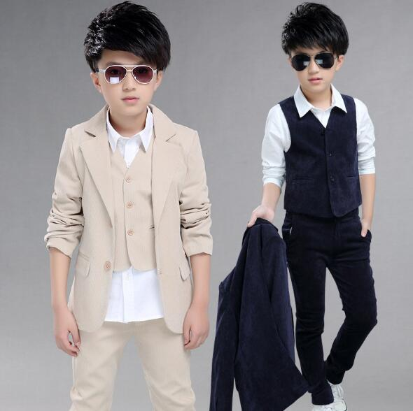 children's clothing sets kids baby boy formal 3 Pieces suit spring coat+vest+pants gentleman clothes for 5-12 years