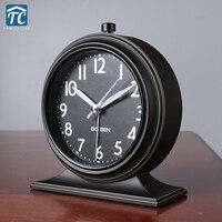 Promotion New Continental Retro Alarm Clock Vintage Mute Bedside Clock Luminous Simplicity Nostalgic Fashion Bedroom Clock