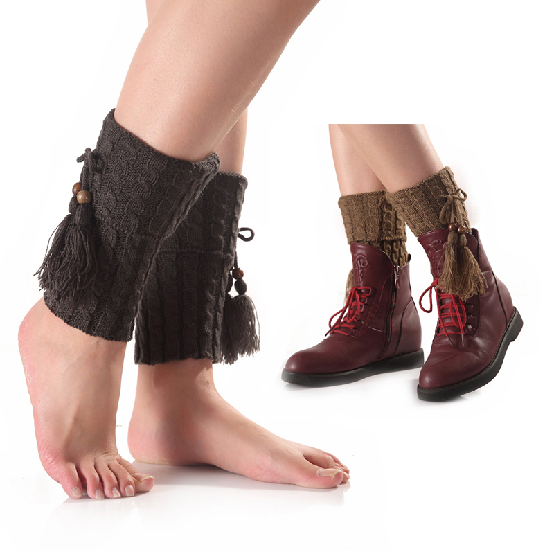 Fashion Tassel Stockings Women's Thigh High Socks Polyester Winter 2018 Women Ladies Girls Warm Knee Knit Step Foot Sock WK006