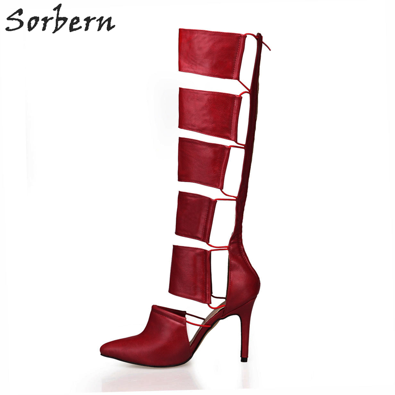 Sorbern Burgundy Knee High Boots Womens High Boots Pointed Toe Spring 2018 Shoes Ladies Unique WomenS Designer Custom
