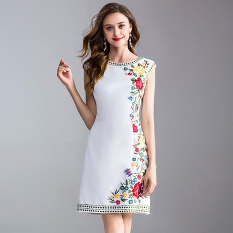 Sleeveless work dresses 2018 new spring Floral Party Dress XXXL Fashion Trend Women Clothing White summer