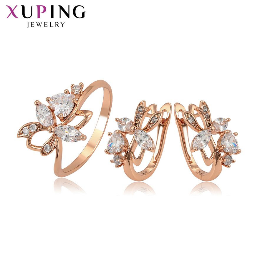 Xuping Fashion Jewelry Sets High Quality Rose Gold-color Plated Elegant Ladies Jewelry for Women Valentine's Gift 65254