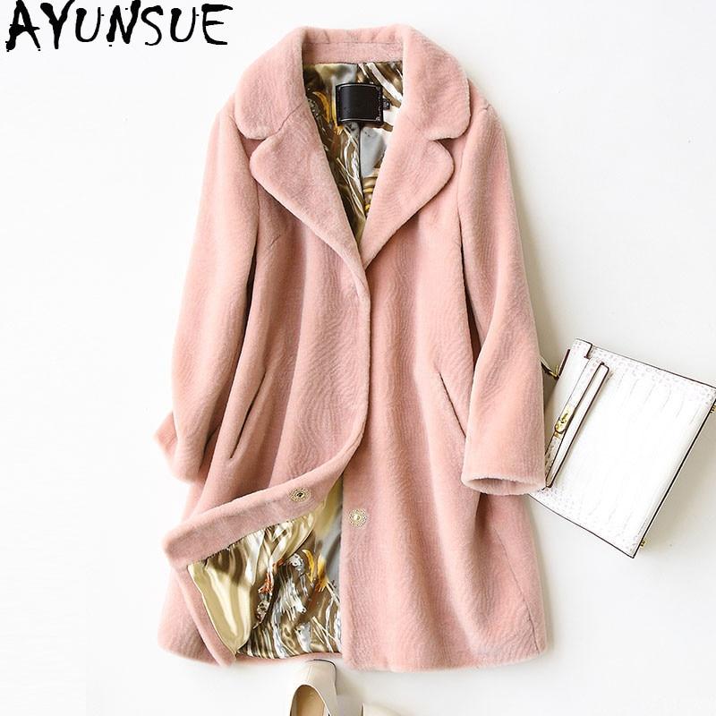 AYUNSUE 2018 Women s Real Fur Coat Wool Jackets Fashion Winter Warm Sheep Shearing Fur Long