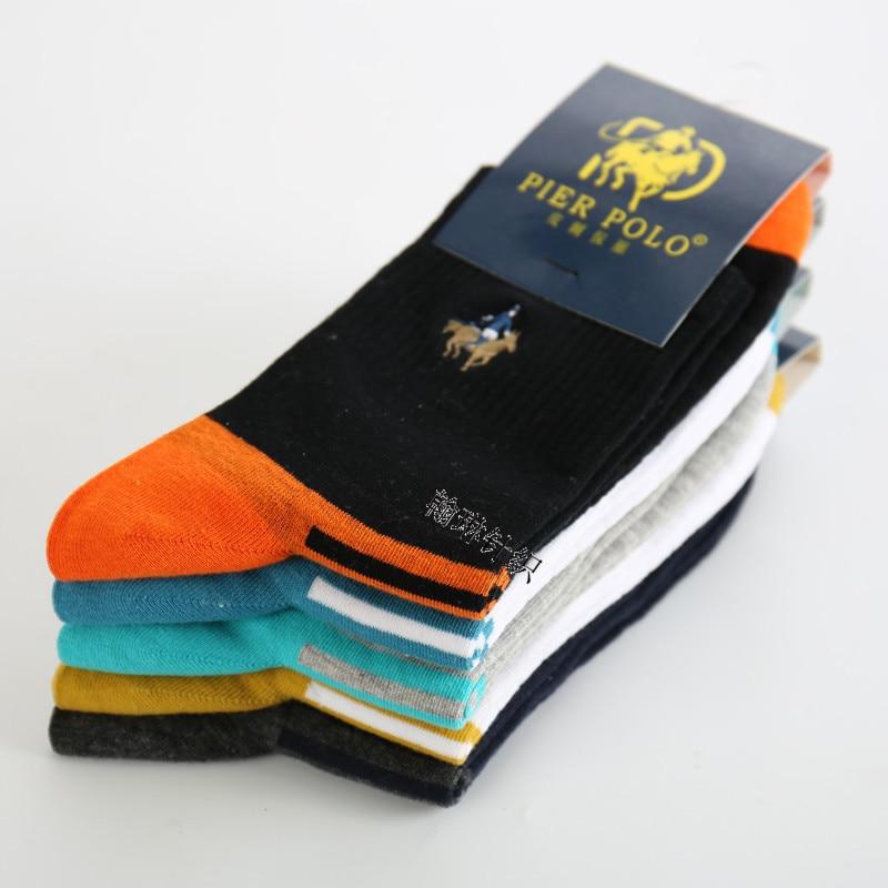 5pairs/lot Men Socks Pure Cotton Tube Socken SCOKS Embroidered Men's Stripes Pier Male POLO Casual Business Socks Medias De Los