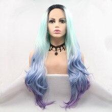 Marquesha длинные волнистые Омбре фиолетовый синий синтетический парик фронта шнурка темный корень красочный парик фронта шнурка для женщин