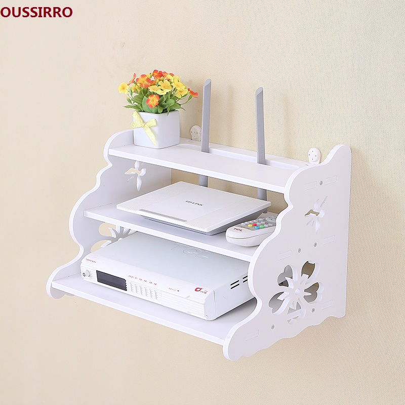 OUSSIRRO Creatief tv-meubel set-top boxframe Router-plank opbergvak Opbergrek verdelen Pylonen Muurhaak