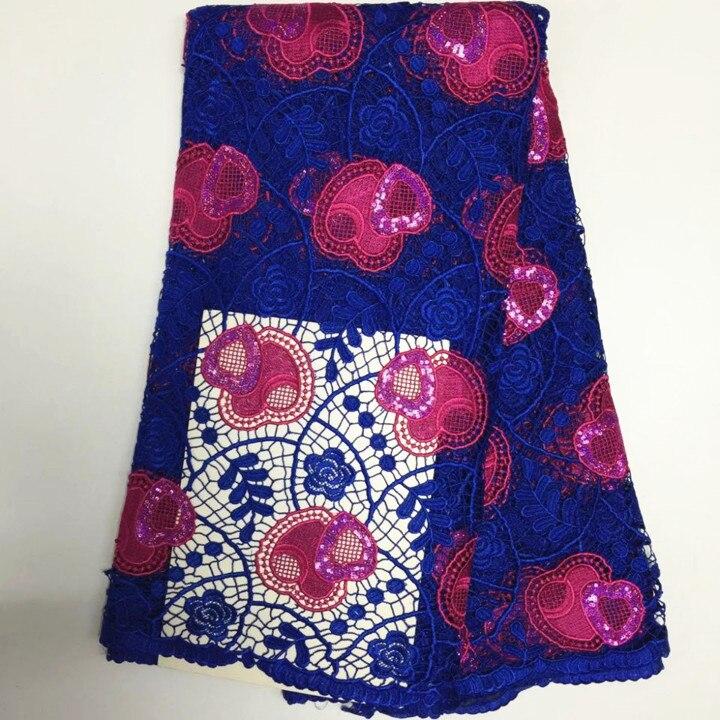 5Y/pc belle dentelle bleu royal africaine soluble dans l'eau avec fuchsia paillettes coeur pour français cordon dentelle tissu pour robe BW165-4