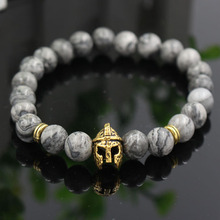 Natural 8mm Marble Stone Mens Bracelet Anqtiue Gold Silver Color Spartan Helmet Charm meninos pulseira jewelry