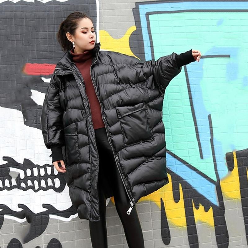 À Nouveau Mode Longues Col eam Black Ji520 Montant Femmes Lâche Coton Au Grande rembourré Taille Printemps Noir Manteau Garder 2019 Manches Chaud qXSqw5A
