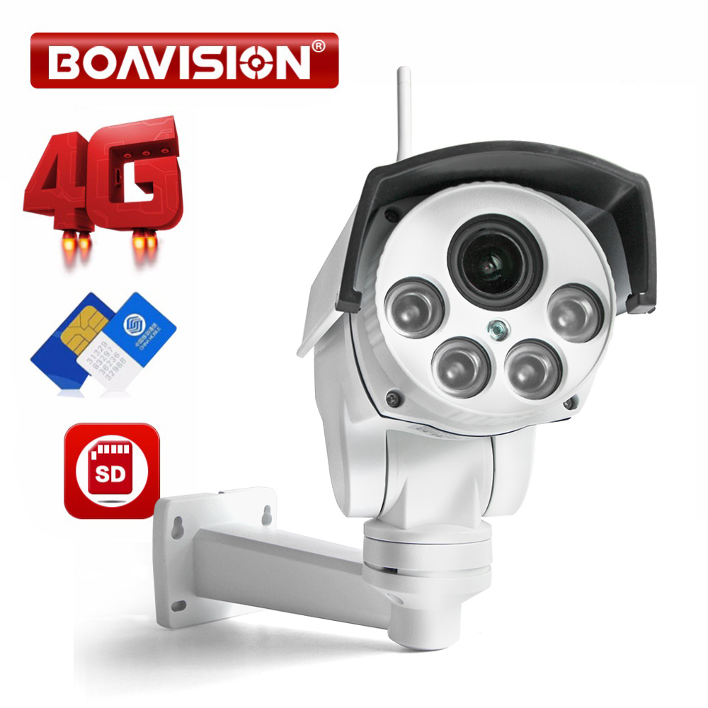 1080P 3G 4G PTZ IP Camera Outdoor Wifi SIM Card Camera P2P Support Micro SD Card Storage Wi-Fi Cam 5X Zoom Lens CCTV Cameras simcom 5360 module 3g modem bulk sms sending and receiving simcom 3g module support imei change