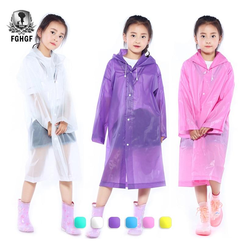 EVA Frosted Child Raincoat Girl Boy Rainwear Hiking Travel Rain Gear Coat