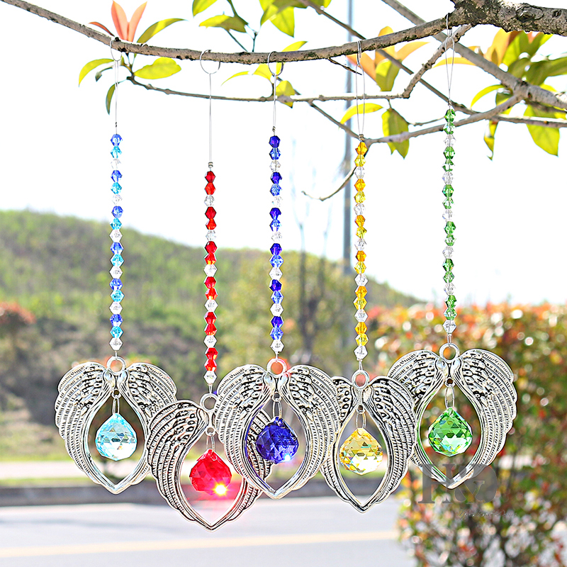 H&D Set of 5 Crystal Suncatcher Hanging Pendant Angel Wing Handmade Ornament Home Fengshui Decor Rainbow Maker Prisms Pendant ...